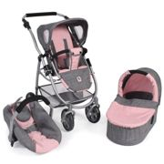 Bayer Chic 2000 Cochecito convertible 3 in 1 EMOTION ALL IN, gris - rosa