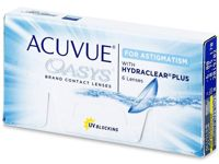 Johnson and Johnson Acuvue Oasys for Astigmatism Graduación : +4.00, Radio: 8.60, Diámetro: 14.50, Cilindro: -0.75, Eje: 90°