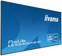 iiyama 55' 3840 x 2160, 4K UHD AMVA3 panel, Fan-less, Speakers, Multiple In-/Outputs (VGA, DVI-D, HDMI(2x) and more), 350 cd/m², 4000:1 Static Contrast, 8 ms, Landscape mode, Media Play USB Port, LAN