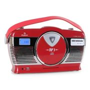 RCD-70 Radio retro FM USB CD pilas rojo