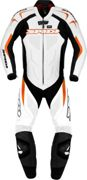Spidi Supersport Wind Pro, 1pcs de traje de cuero. Negro/Blanco/Naranja 48