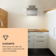 Zola Campana extractora Acero inoxidable Inclinada 90cm Montaje en pared 635m³/h Vidrio LED Klarstein